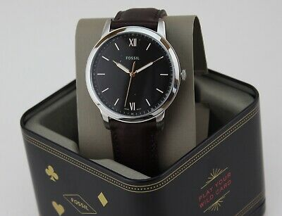 NEW AUTHENTIC FOSSIL THE MINIMALIST SLIM SILVER BROWN LEATHER MEN FS5464 WATCH