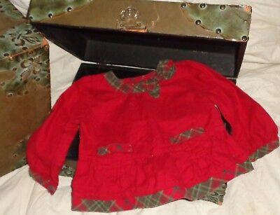 Gymboree Mountain Cabin Red Green Plaid Trim Bow Shirt Size 18-24 months