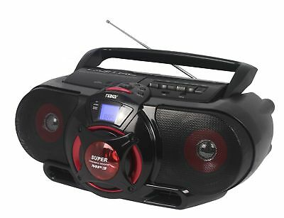 Naxa Portable Bluetooth CD Cassette Player with Subwoofer USB Input AM/FM Radio