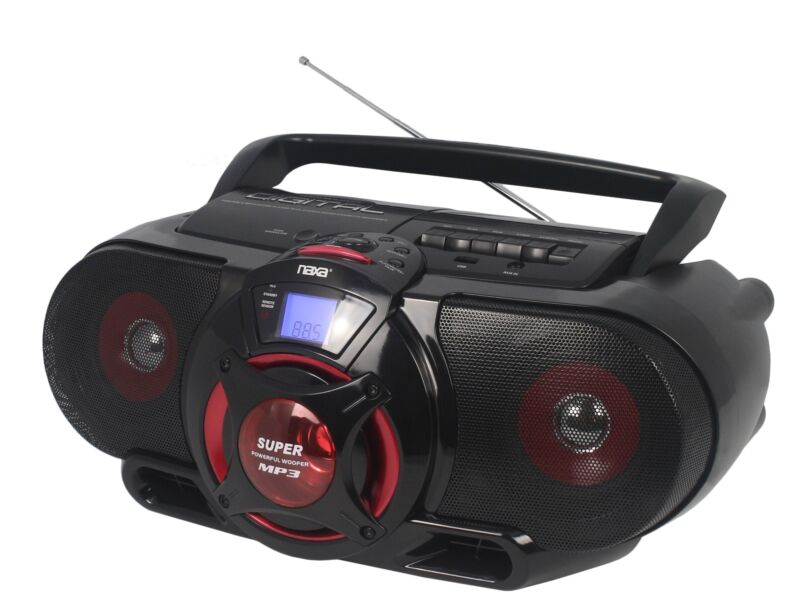 Naxa Portable Bluetooth CD Cassette Player with Subwoofer USB Input AM/FM Radio