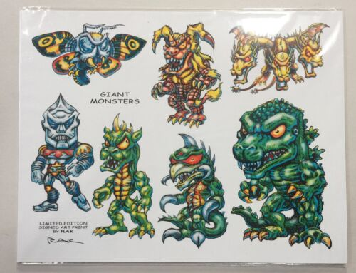8.5x11 Signed Ltd. Edition GODZILLA MONSTER CHARACTERS SUPERFREEK Print by RAK