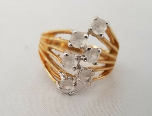 18k Gold Plated 6 CZ sets Cluster Ring / Band / Size 6