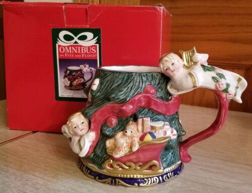 Christmas Mug With Angels Omnibus By Fitz & Floyd 1997 With Original Box EUC