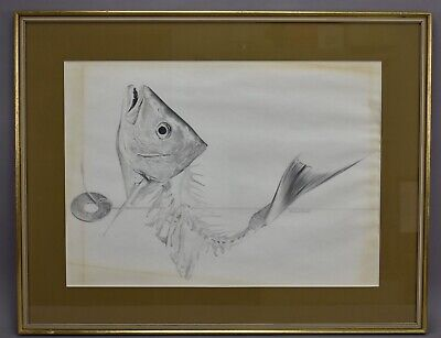 Richard A Botto Crustacean Lure Hooked Fish Head Drawing Sketch Framed