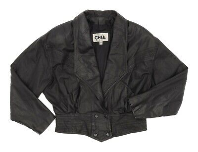 Vintage 80s CHIA Leather Jacket L Large Womens Cropped Motorcycle Jacket Biker