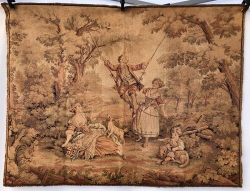 French Wall Hanging Tapestry, Pastoral Scene of a Family Outing with Dogs, 1900s
