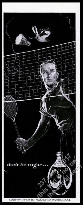 1953 badminton player art Haig & Haig Scots Scotch whisky vintage print ad