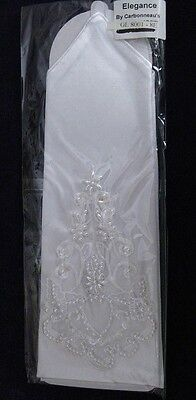 White Below Elbow Satin Spandex Beaded Fingerless Bridal Gloves - GL8001-8E