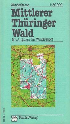 Wanderkarte MITTLERER THÜRINGER WALD  1:50 000 1978 DDR Tourist Verlag