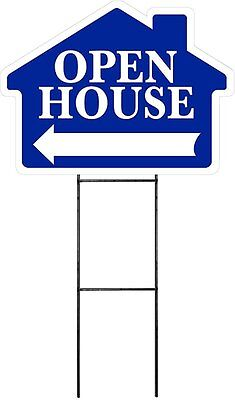 Large 18x24 Open House - Blue - House Shaped Sign Kit With Stand
