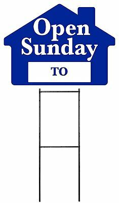 Large 18x24 Open Sunday - Blue - House Shaped Sign Kit With Stand