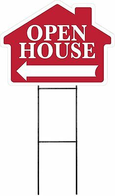 Large 18x24 Open House - Red - House Shaped Sign Kit With Stand