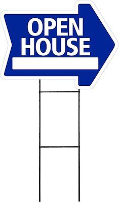 Large 18x24 Open House - Blue - Arrow Shaped Sign Kit With Stand