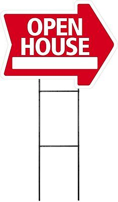 Large 18x24 Open House - Red - Arrow Shaped Sign Kit With Stand