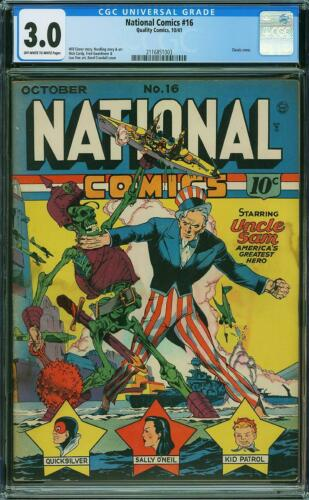 NATIONAL COMICS #16  CGC 3.0   OW/W pages   CLASSIC COVER!