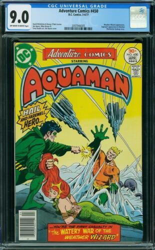 ADVENTURE COMICS 450 CGC 9.0 AQUAMAN MERA APARO COVER 1977