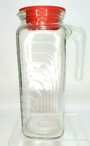 Vintage COVETRO ITALY Clear Thick Glass Refrigerator Pitcher