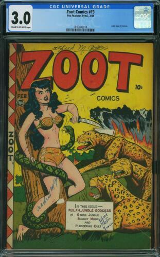 ZOOT COMICS 13 CGC 3.0 Fox Features Jungle Good Girl Art 1948