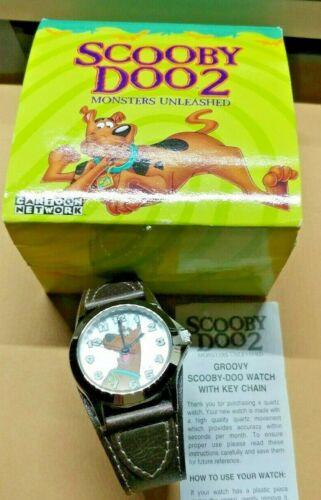 Scooby Doo Watch WORKING & keychain 2003 leather strap Armitron free ship NIB