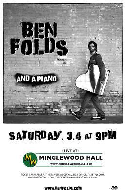 Ben Folds  And A Piano  2017 Memphis Concert Tour Poster  Rock Power Pop Cabaret