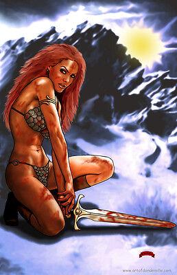 Red Sonja she devil sword sexy art marvel comics 11x17 signed print Dan DeMille
