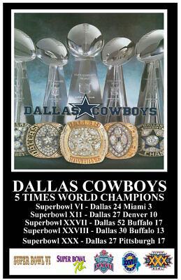 DALLAS COWBOYS 5X FIVE TIME SUPERBOWL CHAMPS POSTER 11X17 GO COWBOYS (Dallas Cowboys 17)