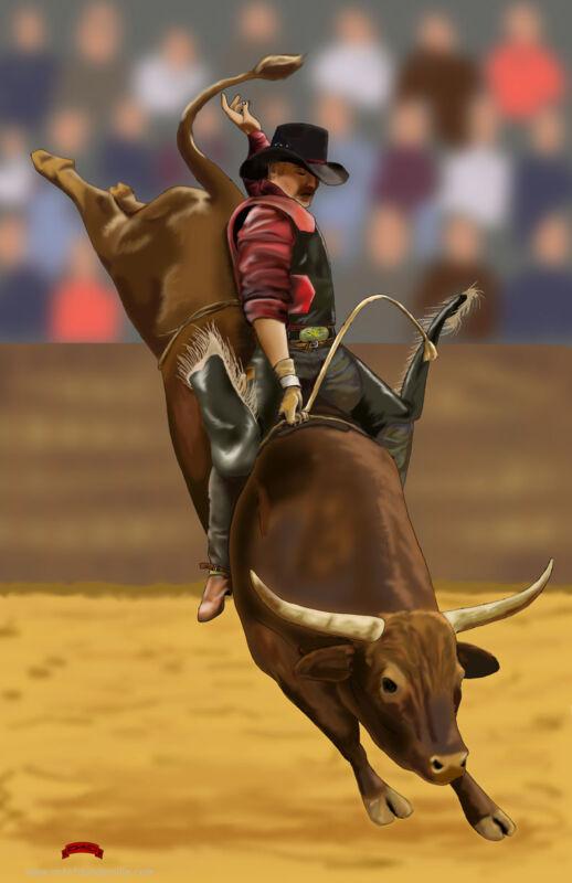 Rodeo Bullrider PBR PRCA cowboy art western life 11x17 signed print Dan DeMille