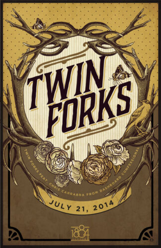 TWIN FORKS 2014 MEMPHIS CONCERT TOUR POSTER - Chris Carrabba, Americana Music
