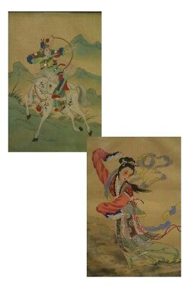 PAIR OF PAINTINGS JAPANESE, DATING NINETEENTH CENTURY / COUPLE PAINTED ORIENTAL