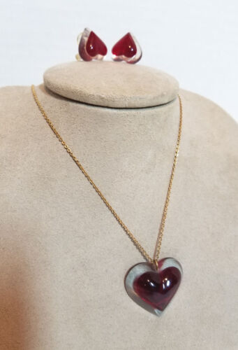 Vintage Lucite Deep Red Heart Necklace Pendant Two Layers & Matching Earings