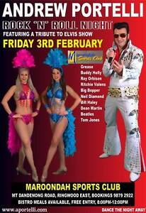 Maroondah Sports Club, FREE ENTRY, Andrew Portelli, Vegas Show Melbourne CBD Melbourne City Preview