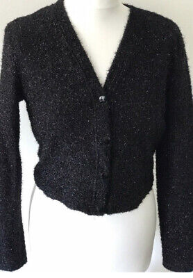Vintage 90s Jessica McClintock Gunne Sax black sparkly cardigan bolero jacket S