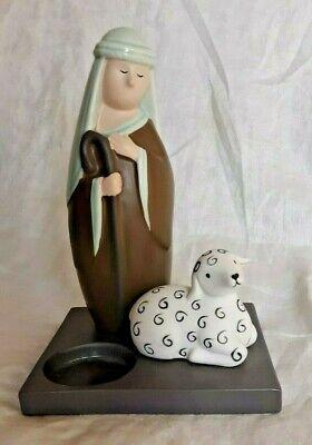 Partylite Shepherd and Sheep Ceramic Votive/Tealight Holder Christmas Nativity