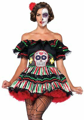 Day of the Dead Doll Skull Dia Muertos Fancy Dress Halloween Sexy Adult Costume