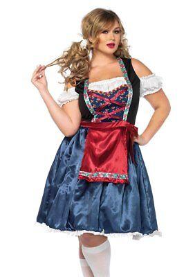 Oktoberfest Fräulein Blau/Rot Deutsch Dirndl Style Fest Verkleidung - Deutsch Fraulein Kostüm