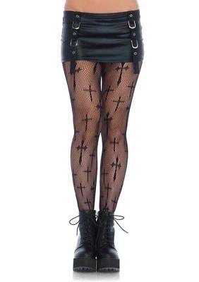 PLUS SIZE Curvy Black Cross Fishnets Pantyhose Halloween Stockings 1x/2x