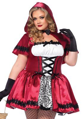 Leg Avenue Plus Size Gothic Red Riding Hood Costume Hooded Cape 3X/4X NEW