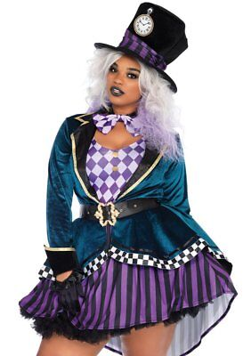 Leg Avenue Delightful Mad Hatter Alice Adult Womens Plus Size Halloween Costume