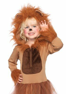 Girls Cuddly Lion Dress Halloween Costume Tail & Matching Furry Hood with - Lion Costume Girls