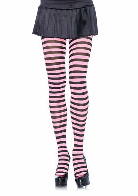 Striped Leggings For Halloween (Striped Tights for Adults Black/Lt. Pink New by Leg Avenue)