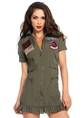 Leg Avenue Women's Top Gun Flight Zipper Front Dress, Khaki/Green, Size Medium B