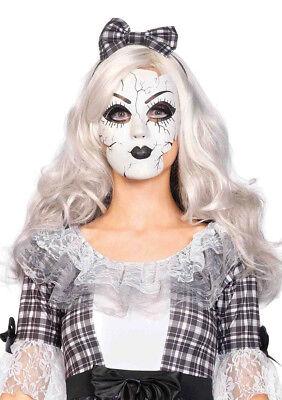 Adult size Plastic Broken Porcelain Doll Mask Creepy Doll Costume Accessory - Broken Doll Mask
