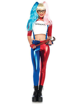 Comic Book Villainess Ladies Harley Quinn Look 6 Pc. Rd/Wht/Bl Misfit Hipster