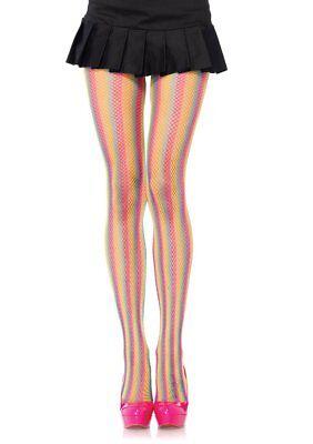 Leg Avenue 9970 Women's Neon rainbow striped fishnet pantyhose. Stockings  (Neon Fishnet Leggings)