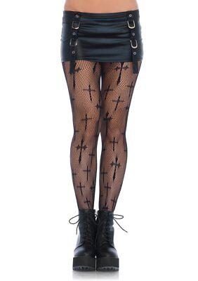 Black Cross Fishnet Pantyhose PLUS SIZE Hosiery Curvy Halloween Stockings