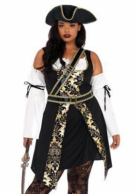 Leg Avenue Black Sea Buccaneer Pirate Plus Size Adult Halloween Costume 85563X](Leg Avenue Plus Size Costumes)
