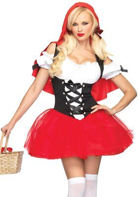 Leg Avenue Women's RACY RED RIDING HOOD Sexy Adult Red Dress Costume S/M M/L (Red M&m Costume)