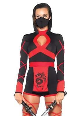 Leg Avenue 3 Piece Dragon Ninja Black/Red Small