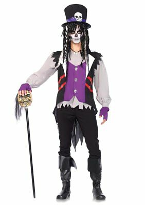 Men's 5pc XL Witch Dr Voodoo Priest Halloween Costume (Men's Voodoo Costume)