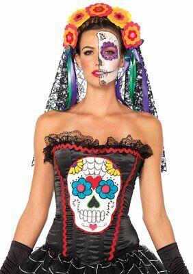Day of the Dead Sugar Skull Bustier Cosplay Dress Up Leg Avenue Medium ()